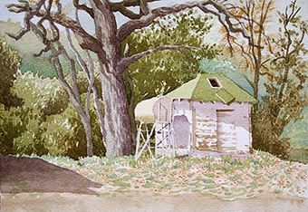 Shed at Gertrude Schoolhouse Watercolor