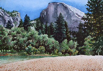Half Dome from Merced River Watercolor