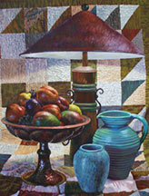 Still Life with Lamp, Pottery & Fruit Image